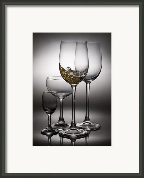 Splashing Wine In Wine Glasses Framed Print By Setsiri Silapasuwanchai
