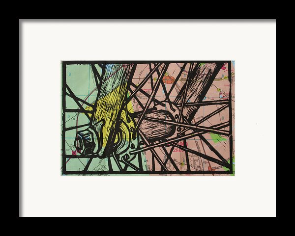 Spokes On Map Framed Print By William Cauthern