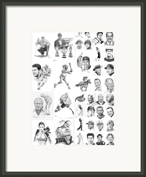 Sports Figures Collage Framed Print By Murphy Elliott