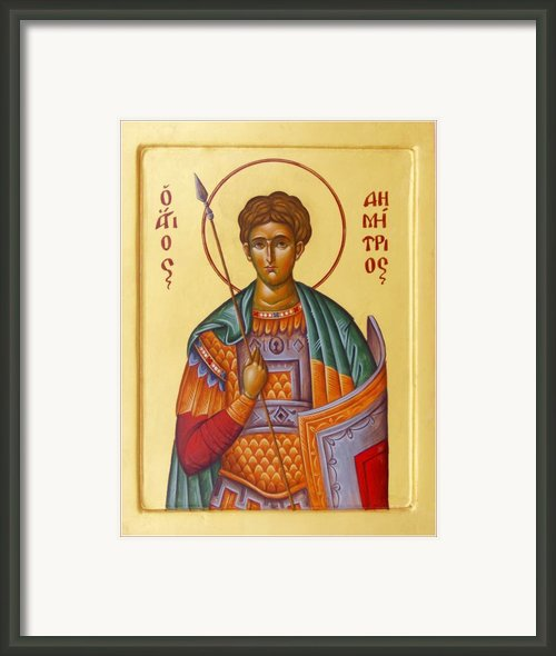 St Demetrios The Great Martyr And Myrrhstreamer Framed Print By Julia Bridget Hayes