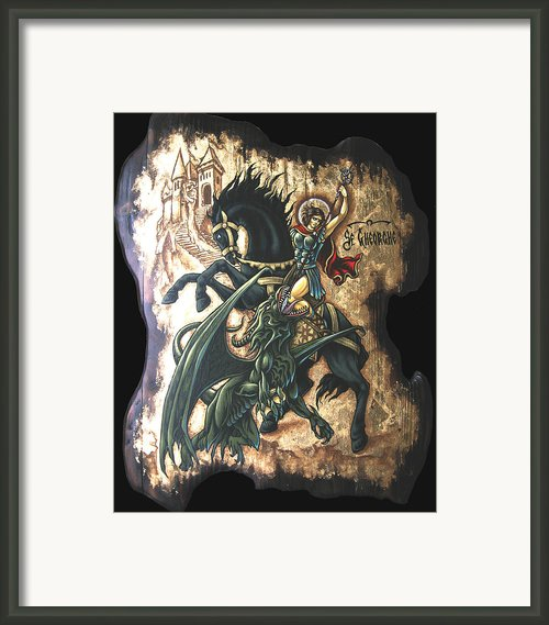 St George Fighting The Dragon Framed Print By Iosif Ioan Chezan