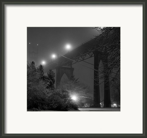 St. Johns Bridge On Snowy Evening Framed Print By Zeb Andrews