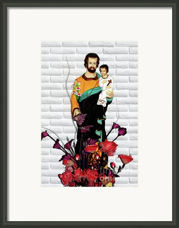 St Joseph Holding Baby Jesus - Catholic Church Qibao China Framed Print By Christine Till