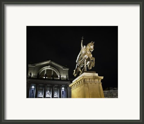 St Louis Art Museum With Statue Of Saint Louis At Night Framed Print By David Coblitz