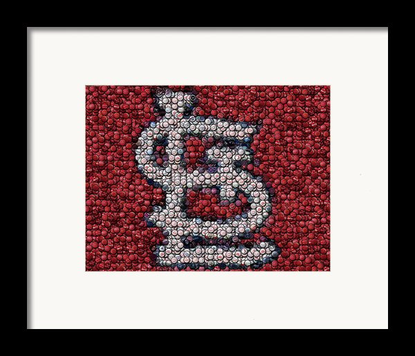 St. Louis Cardinals Bottle Cap Mosaic Framed Print By Paul Van Scott