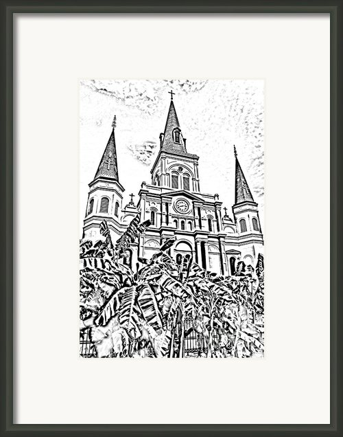 St Louis Cathedral Rising Above Palms Jackson Square New Orleans Photocopy Digital Art Framed Print By Shawn Obrien