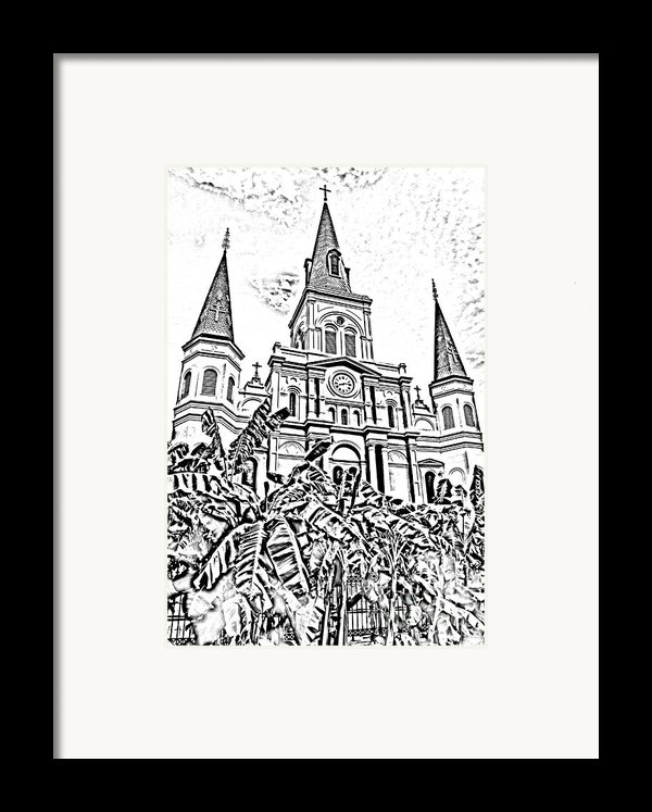 St Louis Cathedral Rising Above Palms Jackson Square New Orleans Photocopy Digital Art Framed Print By Shawn O