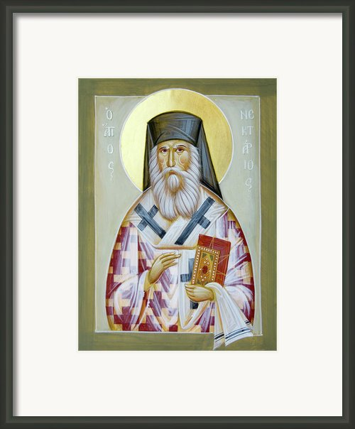 St Nektarios Of Aigina Ii Framed Print By Julia Bridget Hayes