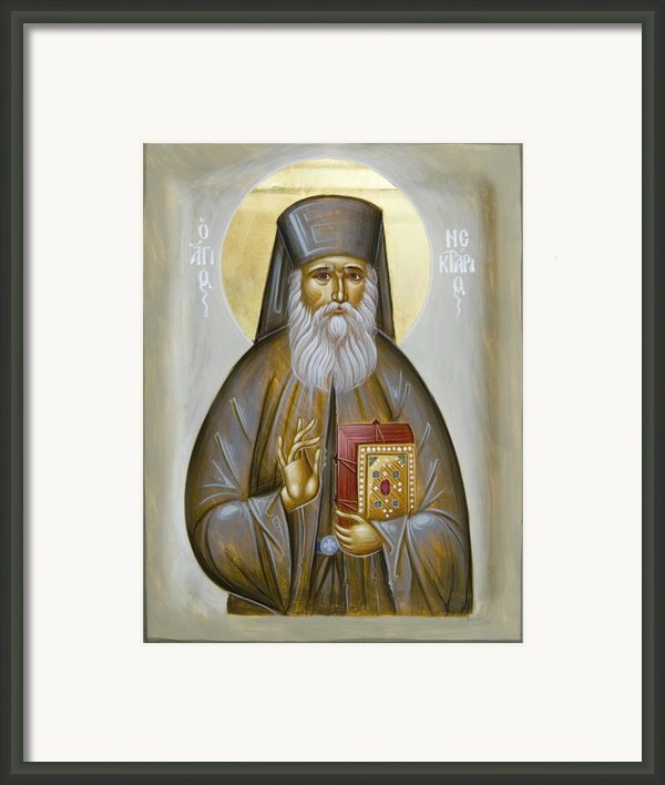 St Nektarios Of Aigina Framed Print By Julia Bridget Hayes
