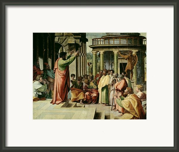 St. Paul Preaching At Athens  Framed Print By Raphael