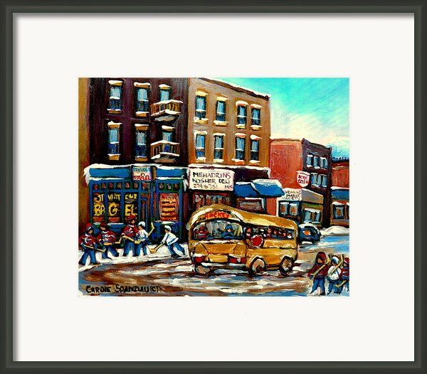 St. Viateur Bagel With Hockey Bus  Framed Print By Carole Spandau