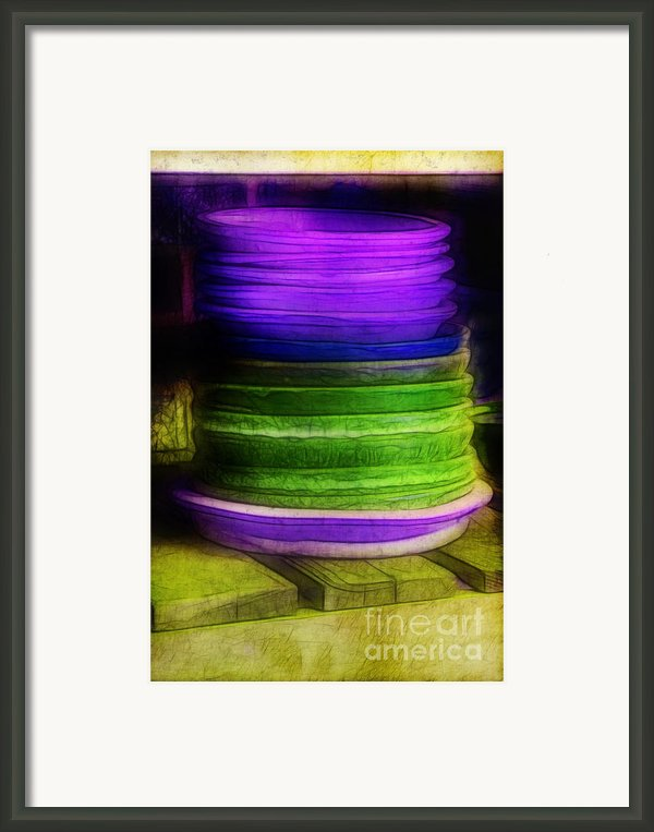 Stack Of Saucers Framed Print By Judi Bagwell