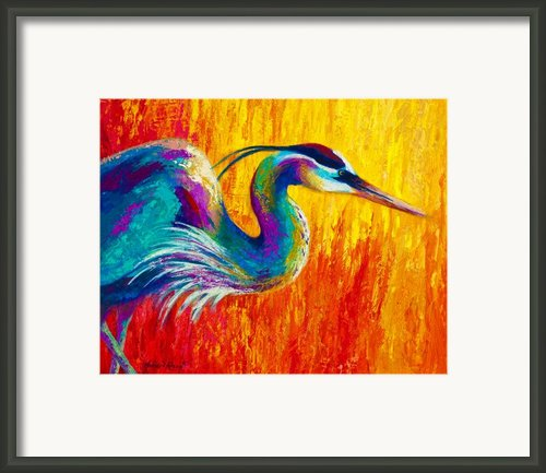 Stalking The Marsh - Great Blue Heron Framed Print By Marion Rose