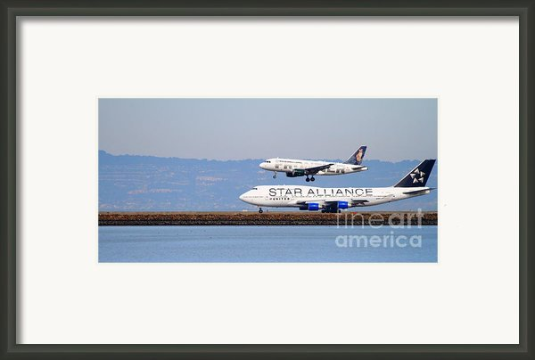 Star Alliance Airlines And Frontier Airlines Jet Airplanes At San Francisco Airport . Long Cut Framed Print By Wingsdomain Art And Photography