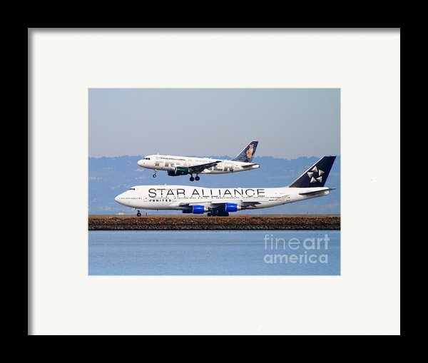 Star Alliance Airlines And Frontier Airlines Jet Airplanes At San Francisco International Airport Framed Print By Wingsdomain Art And Photography