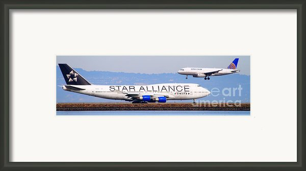 Star Alliance Airlines And United Airlines Jet Airplanes At San Francisco Airport Sfo . Long Cut Framed Print By Wingsdomain Art And Photography