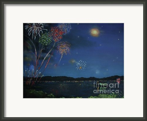 Starry Night At Crooked Creek Marina Framed Print By Jackie  Hill
