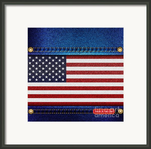 Stars And Stripes Denim Framed Print By Jane Rix