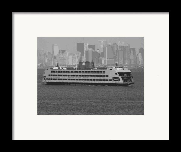 Staten Island Ferry Bw16 Framed Print By Scott Kelley