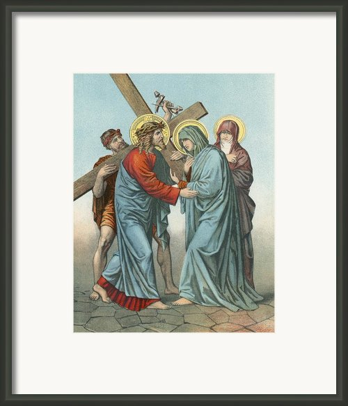 Station Iv Jesus Carrying The Cross Meets His Most Afflicted Mother Framed Print By English School