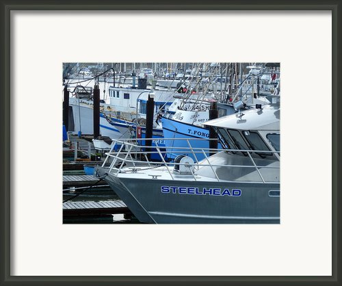 Steelhead And Fishing Boats Framed Print By Jeff Lowe