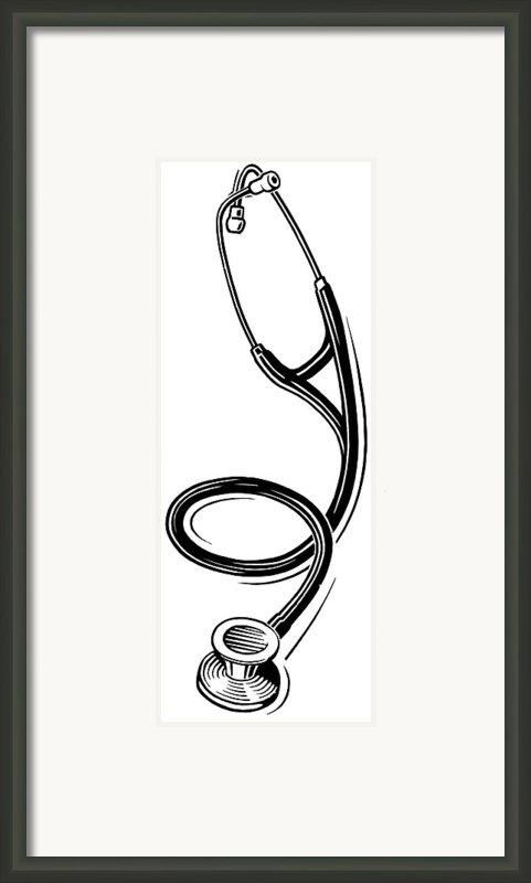 Stethoscope, Lino Print Framed Print By Gary Hincks