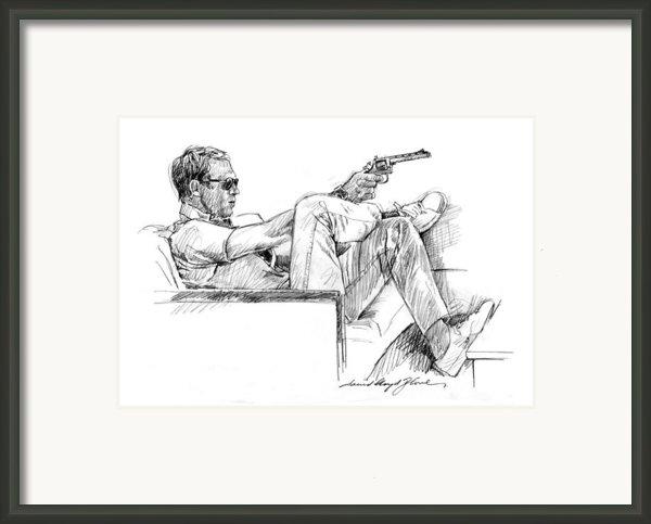 Steve Mcqueen Colt 45 Framed Print By David Lloyd Glover