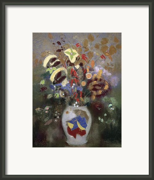Still Life Of A Vase Of Flowers Framed Print By Odilon Redon