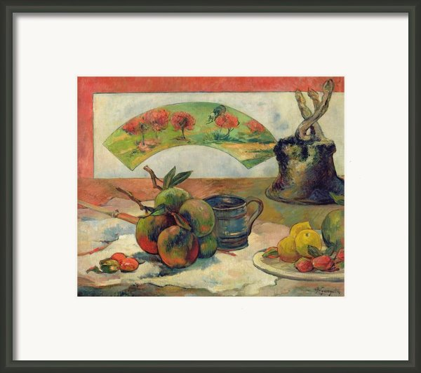 Still Life With A Fan Framed Print By Paul Gauguin