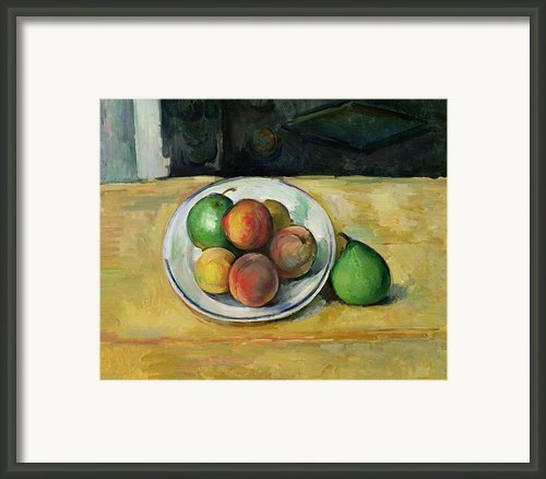 Still Life With A Peach And Two Green Pears Framed Print By Paul Cezanne