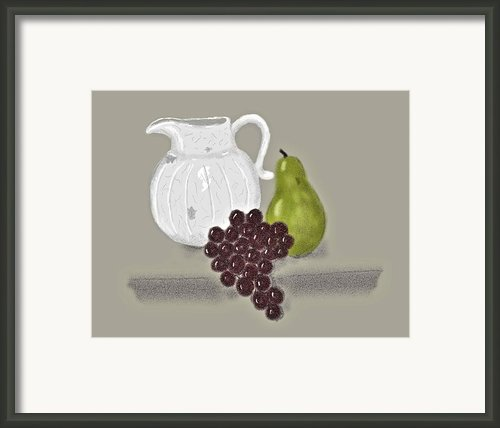 Still Life With Fruit And White Jug Framed Print By Sarah Countiss