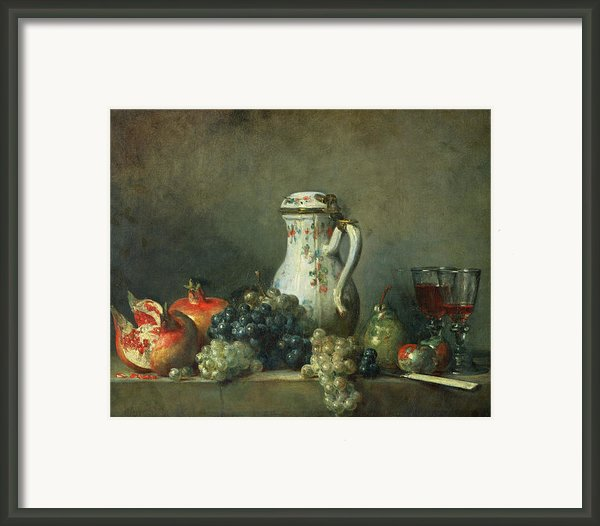 Still Life With Grapes And Pomegranates Framed Print By Jean-baptiste Simeon Chardin