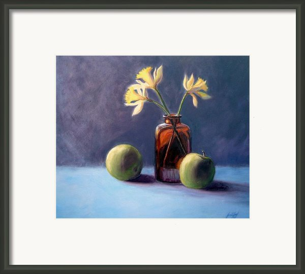 Still Life With Old Brown Bottle Framed Print By Janet King