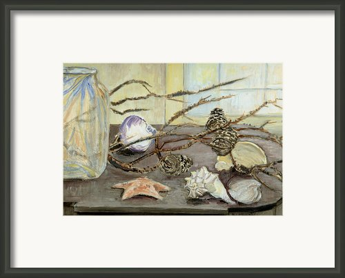 Still Life With Seashells And Pine Cones Framed Print By Ethel Vrana
