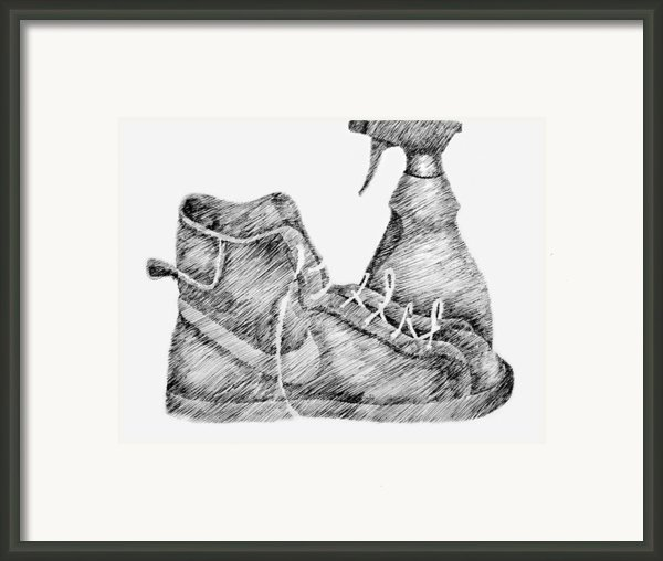 Still Life With Shoe And Spray Bottle Framed Print By Michelle Calkins