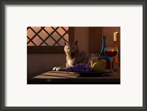 Still Life With Wine Fruit And Cat  Framed Print By Daniel Eskridge