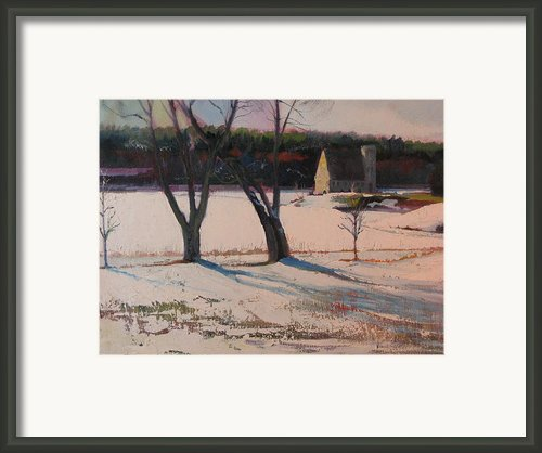 Stone Church  In Winter Framed Print By Sid Solomon