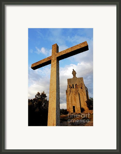 Stone Crucifix Framed Print By Sami Sarkis