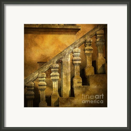 Stone Stairs And Balustrade. Framed Print By Bernard Jaubert