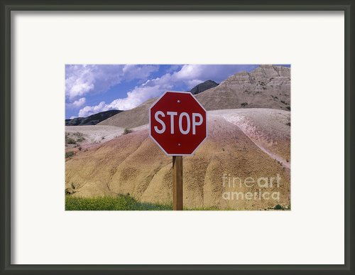 Stop Sign In South Dakota Badlands Framed Print By Will & Deni Mcintyre