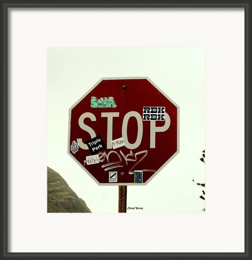 Stop Taggin Framed Print By Cheryl Young