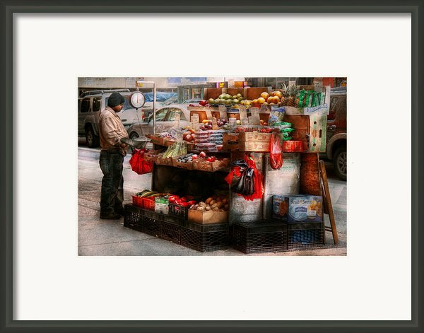 Store - Ny - Chelsea - Fresh Fruit Stand Framed Print By Mike Savad