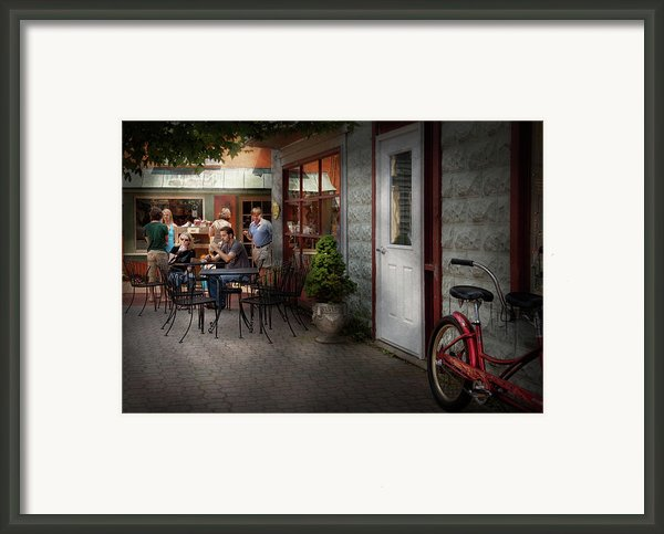 Storefront - Frenchtown Nj - At A Quaint Bistro  Framed Print By Mike Savad