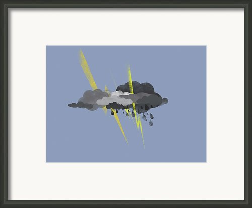 Storm Clouds, Lightning And Rain Framed Print By Jutta Kuss