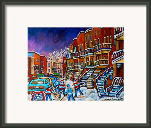 Street Hockey Game In Winter Framed Print By Carole Spandau