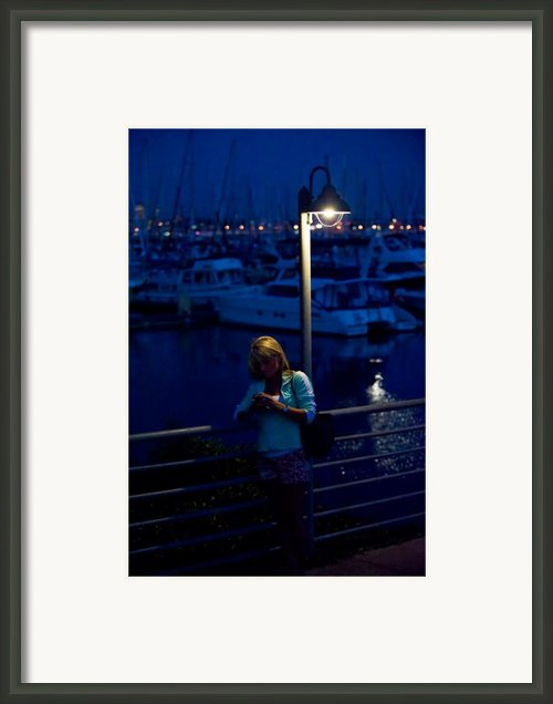 Street Light Texting Framed Print By Tom Dowd