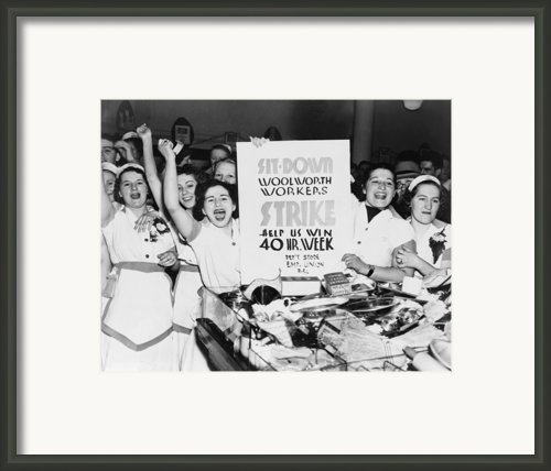 Striking Women Employees Of Woolworths Framed Print By Everett