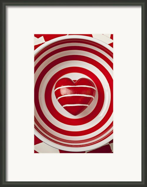 Striped Heart In Bowl Framed Print By Garry Gay