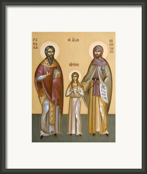 Sts Raphael Nicholas And Irene Framed Print By Julia Bridget Hayes