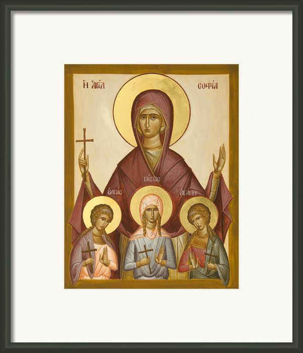 Sts Sophia Faith Hope And Love Framed Print By Julia Bridget Hayes